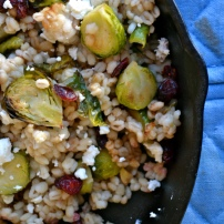 Oven Roasted Brussels Sprouts with Goat Cheese and Cranberries over Barley