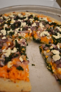 20).Sweet Potato Pizza with Caramelized Onion, Goat Cheese, and Kale