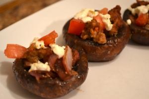 "2). Feta, ""Sausage,"" and Tomato Stuffed Portobello Mushrooms"