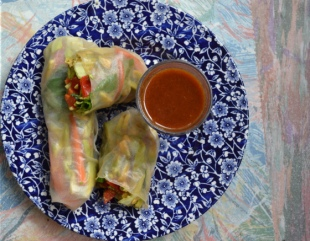 Spring Rolls with Peanut Dipping Sauce