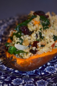 18. Quinoa Stuffed Sweet Potatoes with Spinach and Cranberries