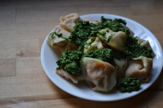 Sweet Potato Ravioli with Kale Pesto