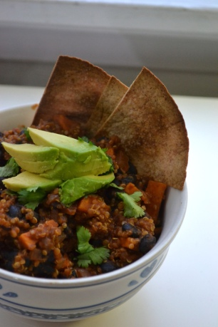 8. Vegan Sweet Potato Quinoa Chili with Homemade Tortilla Chips