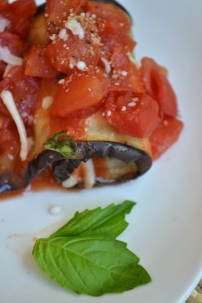 Mozzarella and Basil Stuffed Eggplant Slices