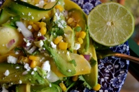 Zucchini Ribbon Salad with Sweet Corn, Avocado, and Feta