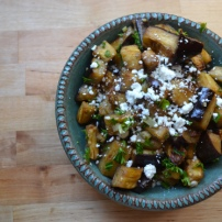 Marinated and Roasted Eggplant with Smoked Amonds & Goat Cheese