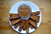 Baked Sesame Tofu Sticks with Peanut Ginger Dipping Sauce