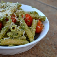 Parmesan Pesto Pasta with Roasted Balsamic Cherry Tomatoes