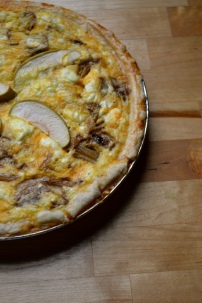 Green Apple, Caramelized Onion, and Goat Cheese Quiche with Vegetarian Sausage