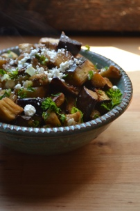 Marinated and Roasted Eggplant with Smoked Almonds and Goat Cheese