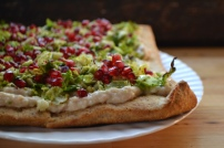 White Bean, Brussels Sprouts, and Pomegranate Tart