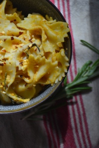 Creamy Pumpkin Pasta with Roasted Rosemary