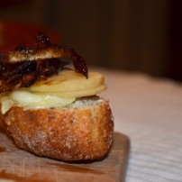 Brie, Pear, and Caramelized Onion Bruschetta