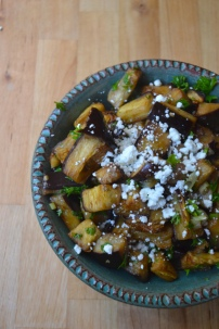 Marinated and Roasted Eggplant with Goat Cheese and Smoked Almonds