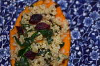 Quinoa Stuffed with Sweet Potatoes with Spinach and Cranberries