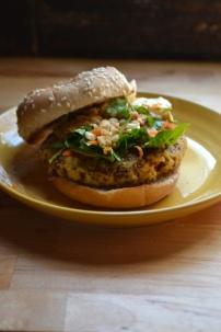 Thai Veggie Burger with Peanut Sauce