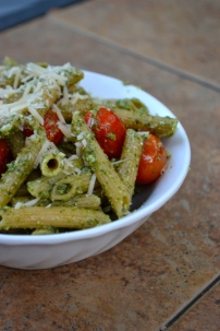 Parmesan Pesto Pasta with Balsamic Roasted Cherry Tomatoes