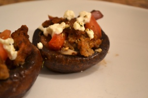 "Feta, ""Sausage, and Tomato Stuffed Portobello Mushrooms"