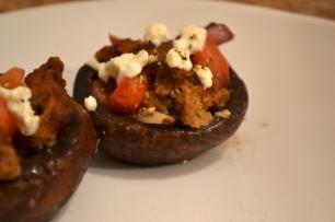 "Feta, ""Sausage, and Tomato Stuffed Portobello Mushrooms"