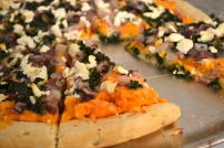 Sweet Potato Pizza with Caramelized Onion, Goat Cheese, and Kale