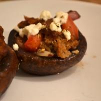 "Feta, ""Sausage,"" and Tomato Stuffed Mushrooms"