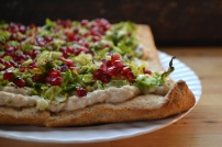 White Bean, Brussels Sprouts and Pomegranate Tart